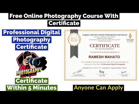 Photography Free Certification Course | Free Certificate | Professional Digital Photography