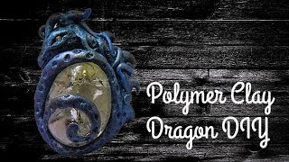 Fantasy dragon marble pendant | DIY Polymer clay tutorial