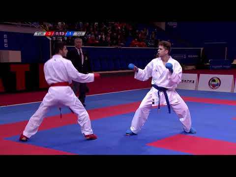 Karate Male Kumite -60kg. Noah Pisino Of Switzerland Vs Eray Samdan Of Turkey