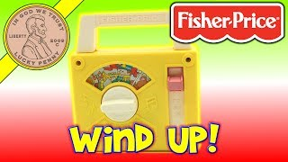 Fisher Price Wind Up Yellow Kids Toy Radio #795 - 1981