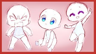 How To Draw 3 Easy Chibi Poses! TUTORIAL