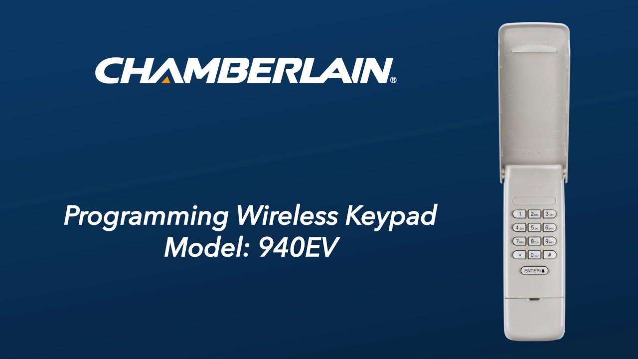 Programmez le clavier sans fil Chamberlain, modèle940EV