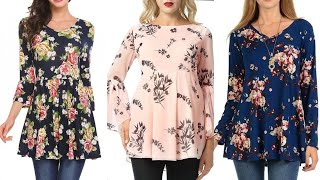 Extremely Beautiful And Running Rose Flower Print Linen/chiffon Plated Tunic Top/tunic Shirts Design