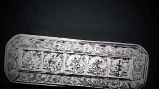 Vintage Art Deco 1920`s Diamond Brooch 3.60ct Set In 14k White Gold