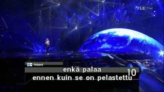 Finland : Eurovision Song Contest Semi Final 2011 finnish subtitle