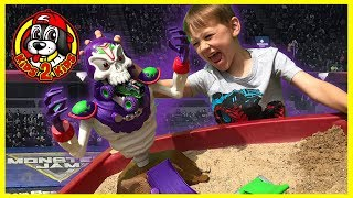 Monster Jam Toy Trucks - GRIM TAKE DOWN PLAYSET - (ft. GRAVE DIGGER with Freestyle Show Highlights!)