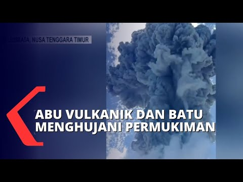 gunung api ile ape erupsi warga berlarian menyelamatkan diri