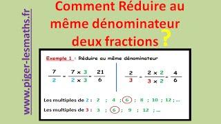 Math 5ème : Réduire au même dénominateur des fractions