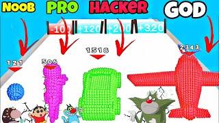 NOOB vs PRO vs HACKER vs GOD In Pixel Battle 3d Game   Oggy, Jack, Shinchan, Bob    Daddy Gaming 🤪