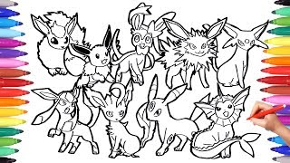 Pokemon Coloring Pages Eevee Evolution | Pokemon Coloring Book Fun Art For Kids