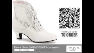 Pleaser Shoes Victorian Adult Ivory Small Heel Boots Ivory From Opentip.com