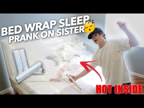PLASTIC WRAP BED SLEEPING PRANK ON SISTER | Ranz and Niana