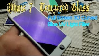 3D Curved Blue UV Light Filtered Tempered Glass Screen Protector: iPhone 7 / 7 Plus