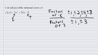 List all possible rational zeros of a polynomial