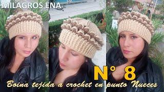 Boina Gorro a Crochet en punto Nueces en 3D paso a paso con indicaciones  para cualquier 1590ced8aa8
