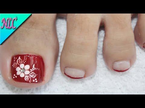 Diseño De Uñas Para Pies Flor En Rojo Muy Fácil Flowers Nail