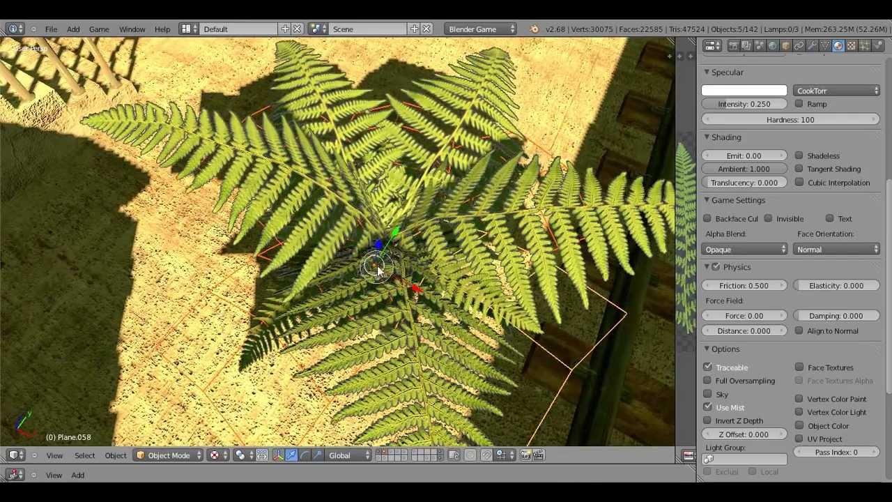 Blender Game Engine-Pflanzen/Plant Tutorial Part 1 (Farn)