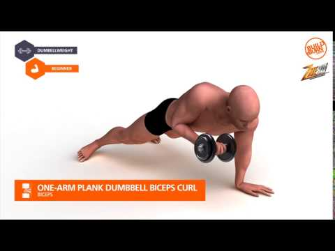 One-Arm Plank Dumbbell Biceps Curl