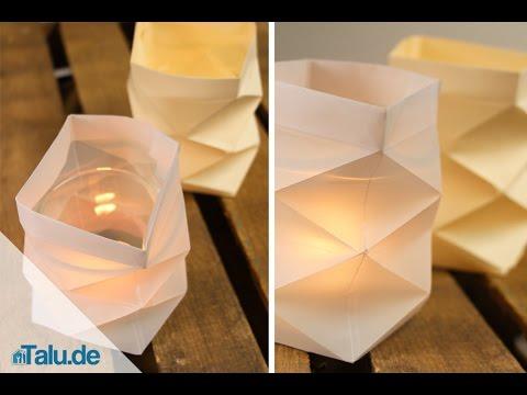 Knickwindlicht für Teelichter aus Papier basteln - Teelichthalter - Anleitung - Talu.de
