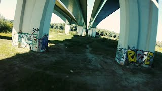 Training under bridge. Poland, Warsaw. Maria Skłodowska-Curie Bridge | FPV race