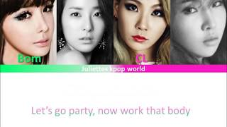 2ne1-Lets go party (color coded ham/rom/eng lyrics)
