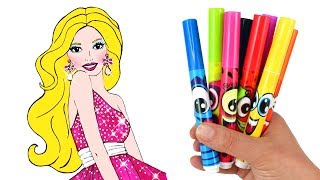 How to Draw Barbie | Drawing & Coloring for Kids & Play Doh Mermaid Makeover with Barbie Doll