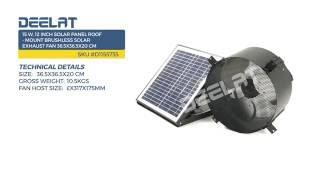 15 W, 12 Inch Solar Panel Roof - Mount Brushless Solar Exhaust Fan 36.5x36.5x20 cm