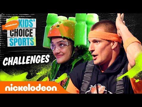 KCS Challenges 💚 ft. Laurie Hernandez & Rob Gronkowski | #KidsChoiceSports