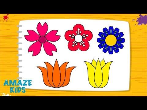 Как Нарисовать Цветы для Детей🌼 Рисуем Рисунки Своими Руками🖌️ Уроки Рисования для Начинающих