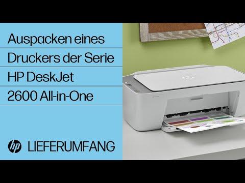 Auspacken eines Druckers der Serie HP DeskJet 2600 All-in-One