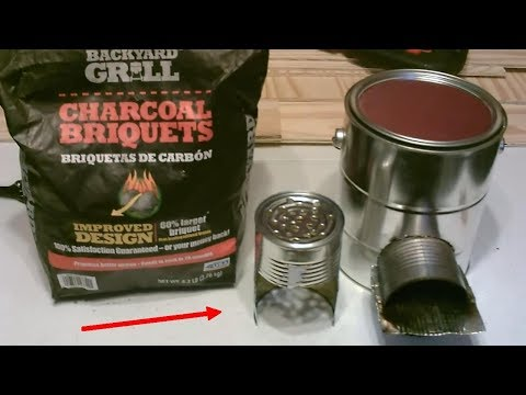 "Homemade BBQ Grill! ""Charcoal-Fueled"" Rocket Stove! (wood-to-coal conv.) – STEEL CAN BBQ/STOVE – DIY"
