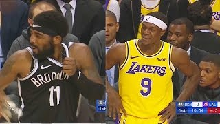 Kyrie Irving Injury By Rajon Rondo On Fractured Face In Debut! Nets vs Lakers 2019 NBA Preseason