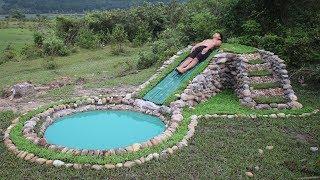 Build Water Slide and Stone Swimming Pool Underground