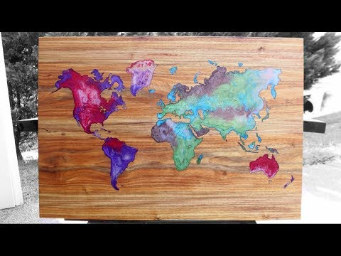 Resin & Wood – World Map wall art – DIY Woodworking