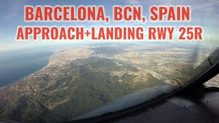 Barcelona airport, BCN / LEBL, Spain, Approach and landing runway 25R. Cockpit view. With ATC. 4k