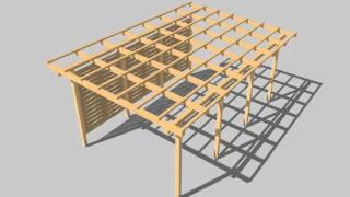 Wizualizacja 3D_ Drewniana wiata samochodowa