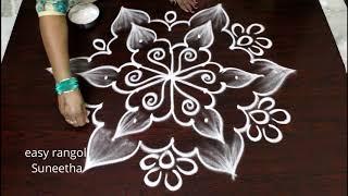 5 Dots Cute Daily Kolam    Easy Rangoli By Suneetha    Latest Muggulu