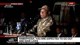 President Cyril Ramaphosa has addressed the military as the country prepares for a 21-day lockdown. Let's cross live now to the Doornkop Army Base in Johannesburg, where the President is speaking. For more news, visit sabcnews.com and also #SABCNews on Social Media.
