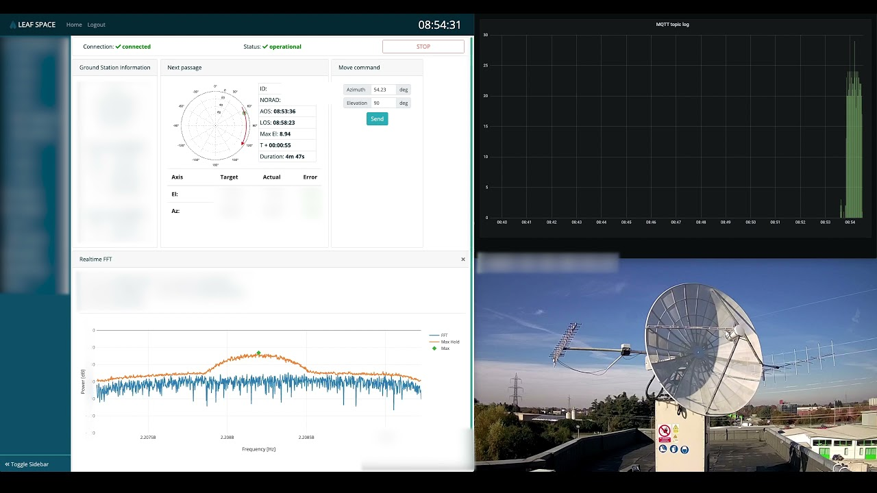 Here is the video of the demo that shows an antenna moving and data flowing.