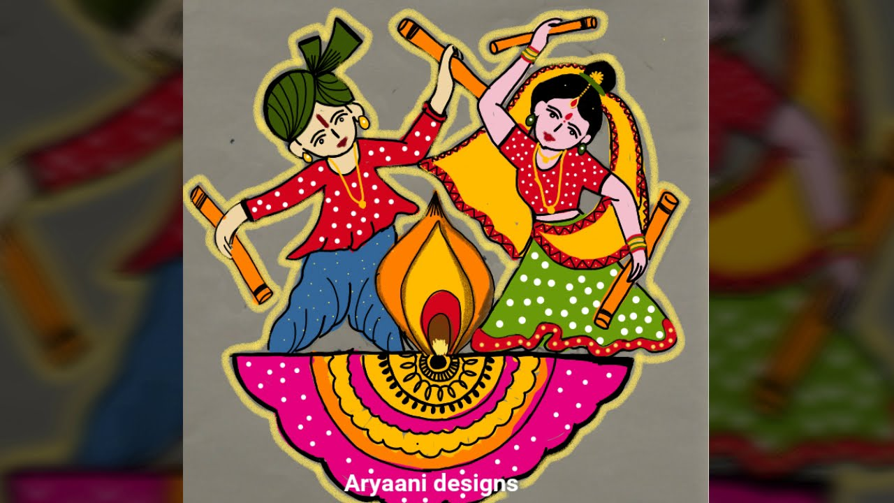dotted muggulu rangoli design for navaratri 9 to 5 dots by aryaani designs