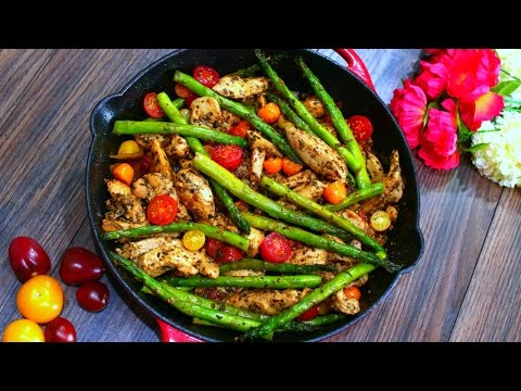 Video One Pan Pesto Chicken and Asparagus Recipe (Healthy chicken and Veggies)