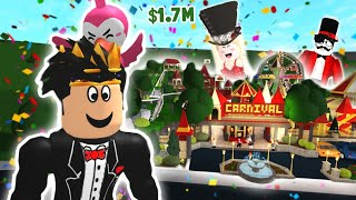 touring an EXPENSIVE BLOXBURG AMUSEMENT PARK... this was a wild carnival