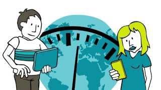 Video-Thumbnail des Erklärvideos: Illustration - Junge mit TabletPC und Mädchen mit Smartphone vor Teilansicht Globus mit überlagerter Teilansicht Ziffernblatt