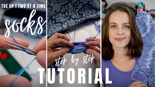 How to knit socks - toe up - TWO AT A TIME socks - magic loop | knitting TUTORIAL