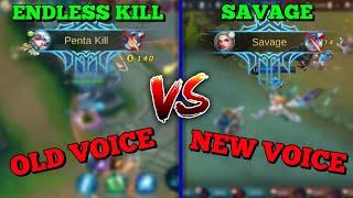 OLD VOICE VS. NEW VOICE ANNOUNCER | PENTAKILL VS. SAVAGE | MOBILE LEGENDS