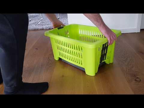 Wäschekorb mit ausklappbaren Beinen - Erklärung der Funktionsweise