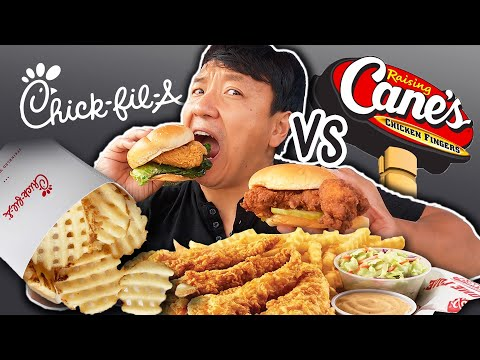 FIRST TIME Trying RAISING CANES  Chick fil A vs  Raising Canes FAST FOOD REVIEW