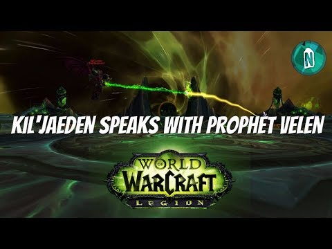 Kil'jaeden speaks with Prophet Velen in The Tomb of Sargeras Deceiver's Fall