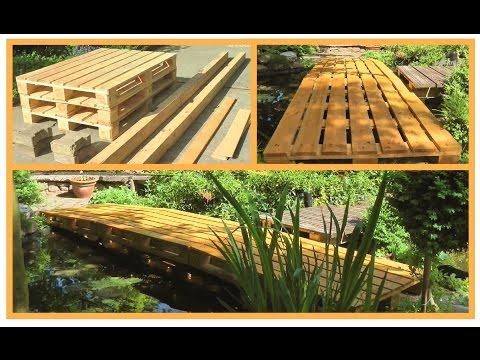 Teichbrücke aus Europaletten stabil, einfach, sehr kostengünstig und schnell selber bauen
