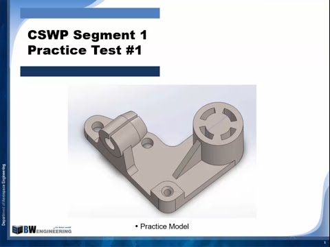 Solidworks Tutorial | CSWP segment 1 | Practice Test #1 ... - YouTube
